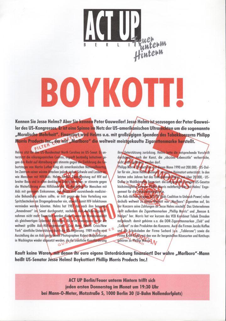 Flyer der Gruppe Act-Up Deutschland zum Marlboro Boykott 1990 1991, (c) Schwules Museum