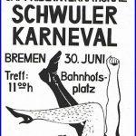 Flyer erste Pride Parade/Schwuler Karneval in Bremen, 1979, (c): Schwules Museum